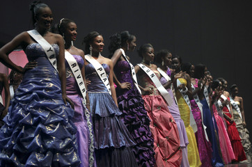 Contestants pose onstage during the Most Beautiful Girl in Nigeria 2010 beauty pageant in the commercial capital Lagos