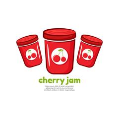 Template logo for cherry jam. Bank of delicious jam