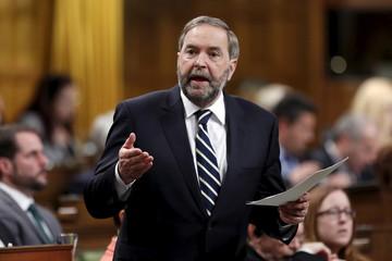 NDP leader Mulcair speaks in the House of Commons in Ottawa