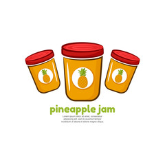 Template logo for pineapple jam. Bank of delicious jam