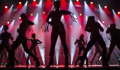 "Dancers are silhouetted during a dress rehearsal for grand show ""THE WYLD"" at Friedrichstadt-Palast in Berlin"