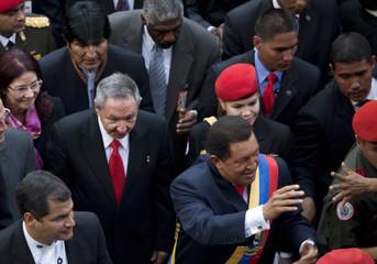 Venezuela's President Chavez, Ecuador's President Correa, Cuba's President Castro and Bolivia's President Morales attend a session in Caracas