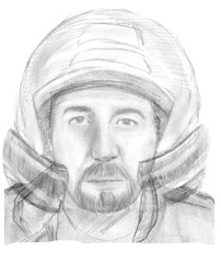 An handout document released by the French Gendarmerie Nationale on November 4, 2013 shows a composite drawing of a motorcycle rider who was seen close to the site where four people were shot dead in the 2012 killings of a British family of Iraqi origin