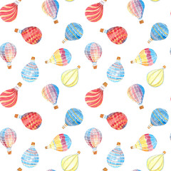 Watercolor hand drawn illustration seamless pattern background with set of Multicolored balloons isolated on white