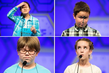 A combination photo shows participants competing during the third round of the 88th annual Scripps National Spelling Bee at National Harbor, Maryland