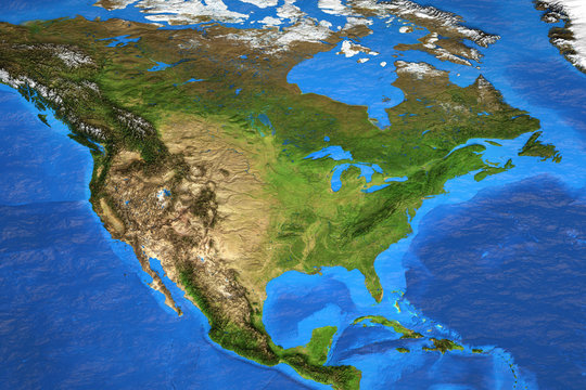High resolution world map focused on North America