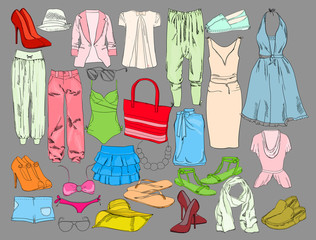 Summer travel packing for vacation. Woman clothing set. Vector hand drawn isolated objects. Colorful drawing fashion collection for girl.