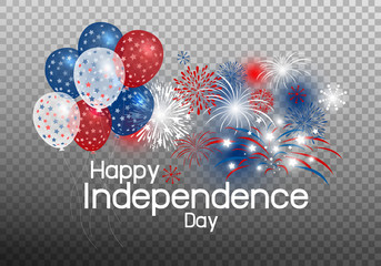 Vector happy independence day concept of balloon with firework on transparency background