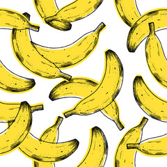 Old print banana seamless pattern. Fun fruit background. Vector illustration