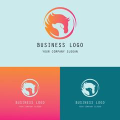 round horse and dog symbol logo
