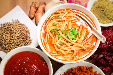 Hot and spicy curry noodle on the table