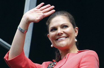 Crown Princess Victoria of Sweden waves as she arrives to the Musee Bernadotte in Pau, Southwestern France, as part of an official visit to France