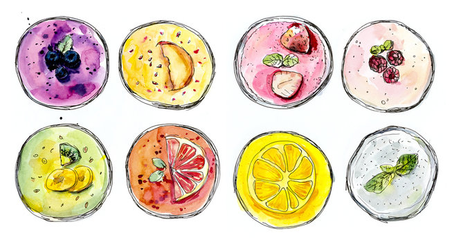 Smoothie. Watercolor hand drawn illustration.