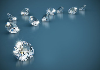 Diamonds group placed on blue  background, 3d illustration.