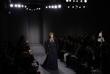 A model presents a creation from Marchesa's Fall 2014 collection during New York Fashion Week