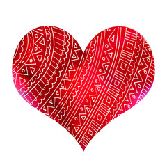 Abstract red heart with pattern