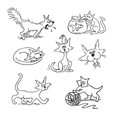 cat cartoon set . outlined cartoon drawing sketch illustration vector.