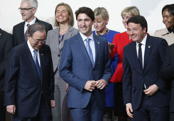 Canadian Prime Minister Trudeau arrives for family photo at the Nuclear Security Summit in Washington