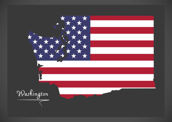 Washington map with American national flag illustration