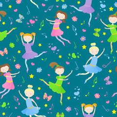 Seamless pattern on the theme of ballet and dance, cute girls dancers on a dark background
