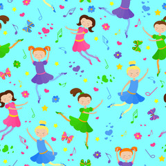 Seamless pattern on the theme of ballet and dance, cute girls dancers on a blue background