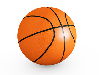 Basketball isolated on a white background as a sports and fitness symbol of a team leisure activity playing with a leather ball dribbling and passing in competition tournaments 3d render