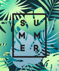 Summer banner tropical background. Summer season, design poster with leaves