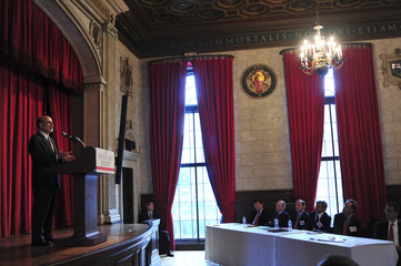 U.S. Federal Reserve Chairman Ben Bernanke delivers a speech at the Italian Academy at Columbia University