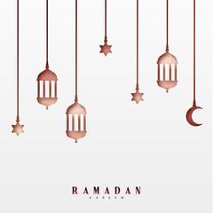 Arabic lanterns or lamps, hanging half a month and a star. Ramadan Kareem holiday greeting card design
