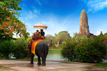 Family ride elephant and take a photo in the historical park of Ayutthaya, Thailand.