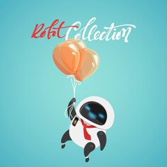 Character cute in flat style. Funny cartoon robot with balloons.