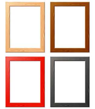 four various wood frame