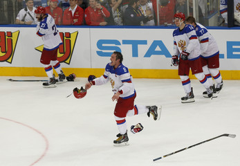 Russia's Ovechkin celebrates his team's victory against Finland at the end of the third period of their men's ice hockey World Championship final game at Minsk Arena in Minsk