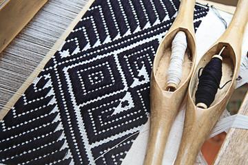 Wood tools fabric handmade and yarn of silk