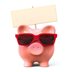 Piggy bank with red sunglasses and signboard