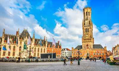 Photo sur Toile Bruges Market Square (Markt) Provincial government in Bruges, Belgium.