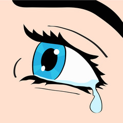 Close up of blue eye and tear, a woman crying, pop art comic style retro vector illustration, hand draw