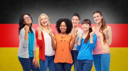 international happy women over german flag