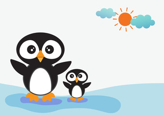 Animal cartoon - two penguin vector with blue water and sunny background