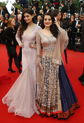 """Actresses Ameesha Patel and Puja Gupta arrive for the screening of the the film """"All is Lost"""" in competition during the 66th Cannes Film Festival"""