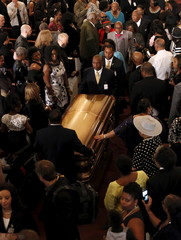 B.B. King's casket is carried out of the church during his funeral in Indianola, Mississippi