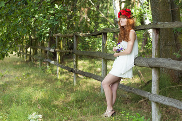 Country girl with flower wreath