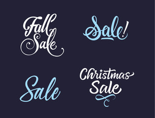 Four White and Blue Sale Letterings Set