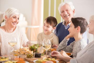 Family during dinner