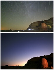 A combination photo shows stars and a long exposure photo shows star trails from the night sky to morning over rocks at camp in the natural reserve area of Wadi Al-Hitan, or the Valley of the Whales, at the desert of Al Fayoum Governorate, southwest of Ca