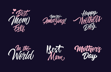Six Mothers Day Letterings Collection