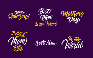 Six Mothers Day Letterings Set