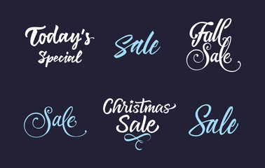 Six White and Blue Sale Letterings Set