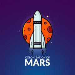 Colonization of Mars vector illustration