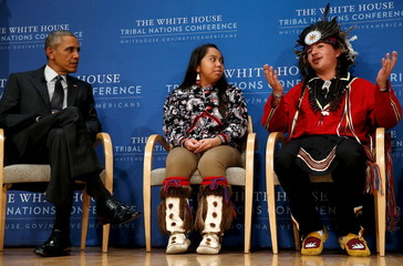 Obama participates in a panel discussion with Ticknor and White at the annual White House Tribal Nations Conference in Washington